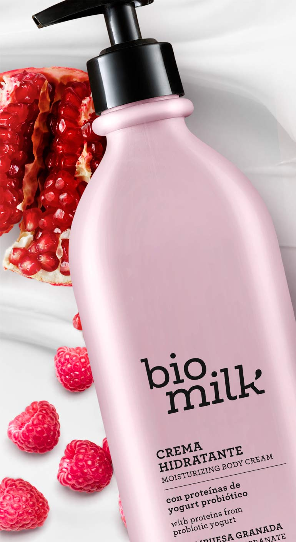 envase practicocrema hidratante corporal bio milk frambuesa granada